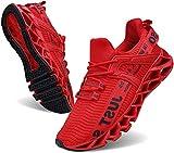 JSLEAP Laufende Tennisschuhe der athletischen gehenden Klingen der Männer Mode-Turnschuhe (2 Rot,Größe 42 EU/260 CN)