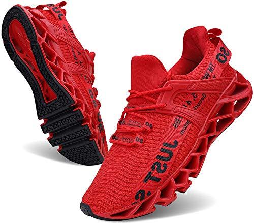 JSLEAP Laufende Tennisschuhe der athletischen gehenden Klingen der Männer Mode-Turnschuhe (2 Rot,Größe 43 EU/265 CN)