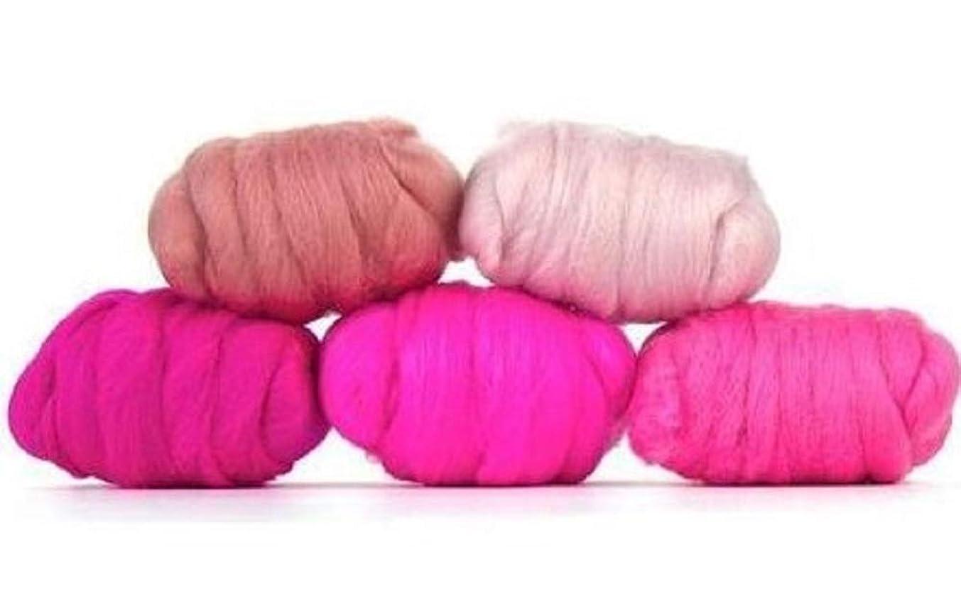 Paradise Fibers Mixed Merino Wool Bag - Posh Pink - Merino Wool Fiber Lot Perfect for Needle Felting, Wet Felting, Hand Spinning, and Blending