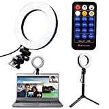 VWMYQ 6inch Ring Light Clip On Laptop | Computer with Tripod and Remote, Video Conference Lighting Kit with 3 Light Modes and 9 Brightness Level for Zoom Lighting | TikTok (3 Light Modes,Black Shell)