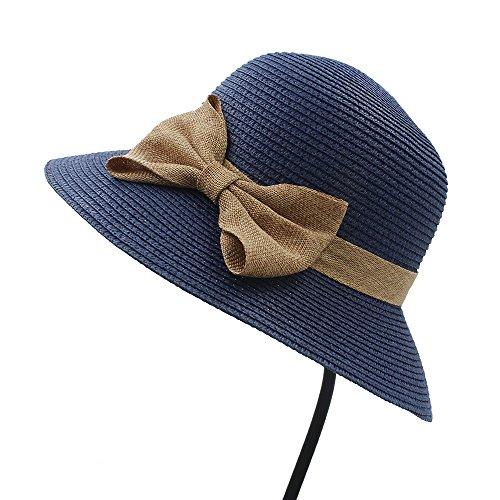 Chlyuan Chlyuan Panama-Fedora-Cap mit breiter Krempe Frauen-Sommer-Sonnenhut-Elegante Dame Folding Seaside Bowknot Sunbonnet Beach Hats (Farbe : Blau, Größe : 58 cm)