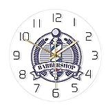 Cwanmh Reloj de Pared Barber Shop Retro Badge Print Reloj de