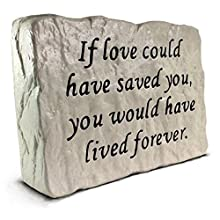 "Solid cast in stone (7.8 LB) - Not plastic or resin Made for outdoors - Stands upright Deeply engraved This rock is 6"" tall, 8.5"" wide, and 2.25"" thick at the base. Made in USA - The engraved portion is painted with a super strong pigmented cement ty..."