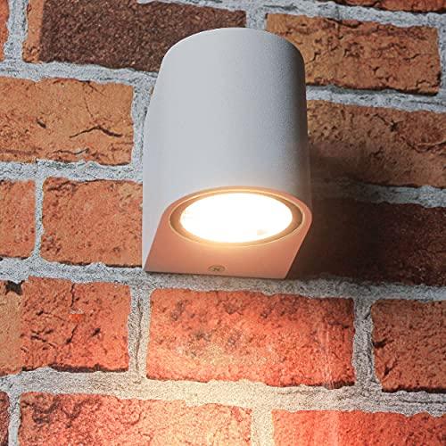 Aplique compacto de iluminación hacia abajo, lámpara de exterior para pared, color blanco, GU10 aplique, lámpara de pared, lámpara de exterior, iluminación, patio y jardín