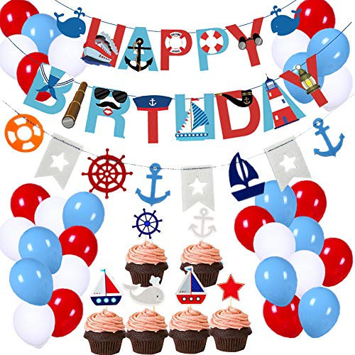 77Pcs Nautical Party Supplies for Boys Nautical Party Decorations Sailor Nautical Happy Birthday Banner Nautical Cupcake Toppers Balloons Anchor Sailboat Yacht Lighthouse Bunting Sign for Kids Girls Nautical Theme Birthday Party Baby Shower Party Decoration Supplies