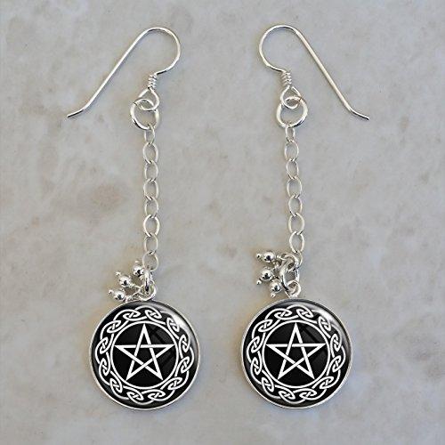 Pentagram Pentacle Wicca Celtic Sterling Silver Earrings