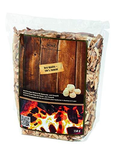 RÖSLE Räucherchips Hickory, 750 g, für Räucherbox auf Smoker, Holzkohle- und Gasgrills, rauchaktiv, naturbelassenes Holz