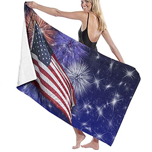 AIMILUX Toalla de Playa,Fuegos Artificiales de la Bandera de Estados Unidos,Toallas de Baño Toallas de Acampada Piscina Natación Playa Toallas de Mano Ducha Toallas de Mano
