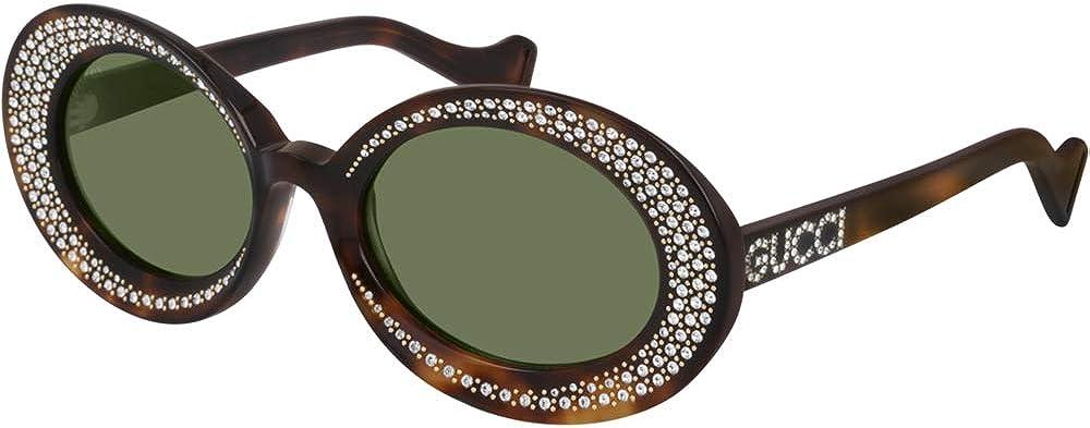 Occhiali da sole da donna in acetato, ovale tempestato di cristalli, havana/green GG0618S
