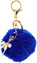 NATFUR Keychain Keyring Pendant Fluffy Plush Keys Ring Metal Chain Cute Ballet Style Key-Chain for Men Holder Perfect for Gift Beauteous Goodly | Color - Royal Blue