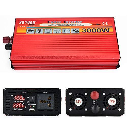 GBHJJ 3500W Spannungswandler, Gleichstrom zu Wechselstrom 12 V / 24 V Zu 110 V / 220 V, Sinus-Kfz-Spannungswandler, Mit USB-LadeanschlüSsen Und Wechselstromsteckdose,3500W-12vTo220v