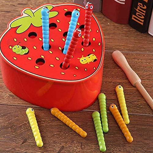 Zwindy Juguetes de Desarrollo de Inteligencia Juguete Educativo no tóxico, Juguete de Madera magnético de Borde Redondo y Liso, Juguete de Madera, Niño para Fiesta(Strawberry Crawler)
