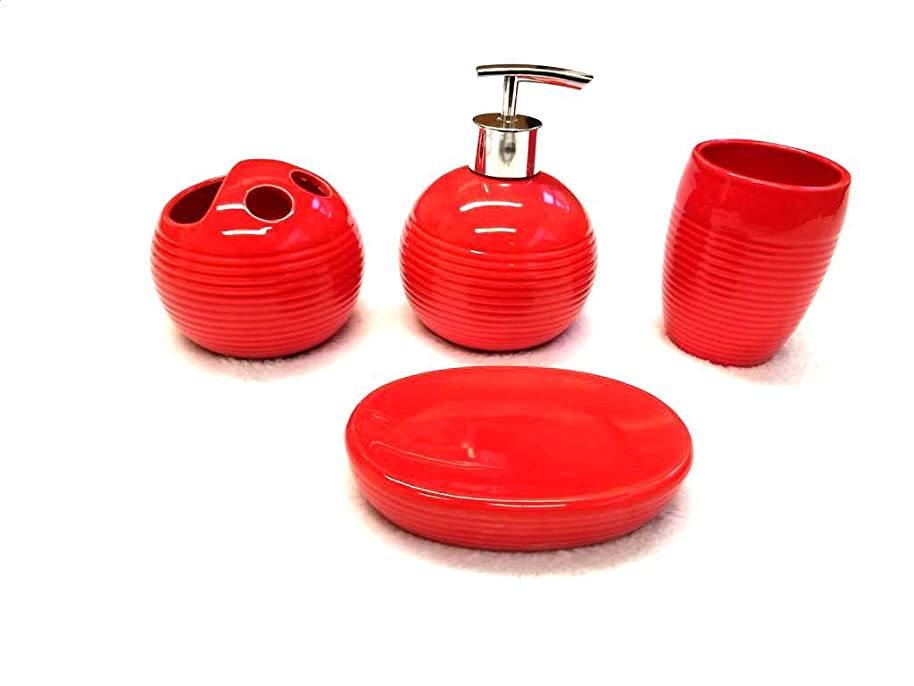 Empire Home Ribbed 4-Piece Bathroom Accessory Ceramic Set - Lotion Dispenser/Tumbler / Toothbrush Holder/Soap Dish (Red)