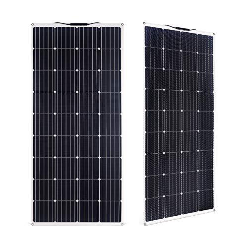 SARONIC Panel Solar ETFE Monocristalino PV Flexible de 150W para RV, Barco, Tienda, Coche, Remolque, Batería de 12V o Cualquier otra Superficie Irregular (Blanco)