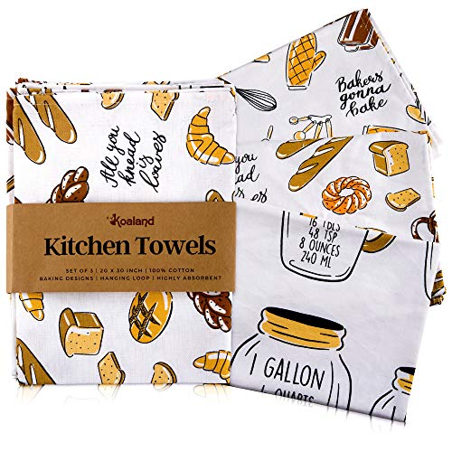 KOALAND Kitchen Towels, Set of 3 Oversized Decorative Dish Tea Towels with Printed Designs for Home Pantry, 100-percent Cotton, Cute Flour Sack Towel, Dish Cloths for Drying Dishes, Baking Design