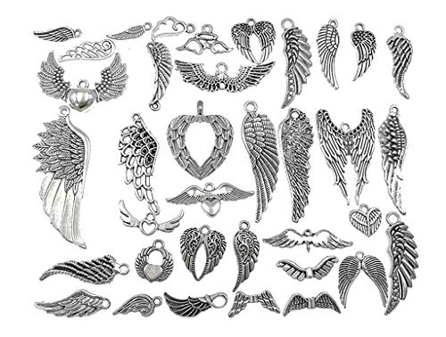 Kinteshun Assorted Angel Wings Feathers Punk Charm Pendant Connector for DIY Jewelry Making Accessaries(36pcs,Antique Silver Tone)