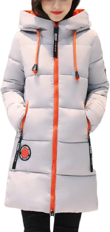 TymhgtCA Women's Zip Mid Long Quilted Hoodies Winter Thick Down Jacket Coat