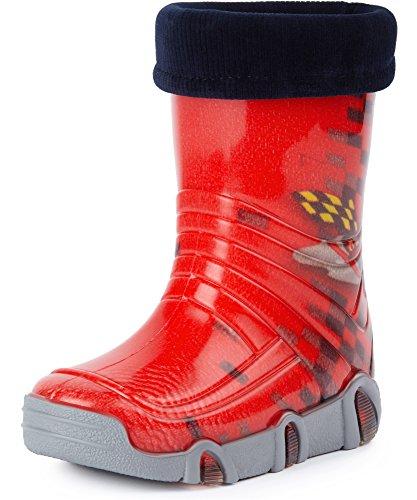 Ladeheid Botas de Agua Zapatos de Seguridad Calzado Unisex Niños Niñas Swk 16 (Rojo Car, 31/32 EU)