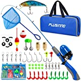 PLUSINNO Kids Fishing Pole, Portable Telescopic Fishing Rod Combos Full Kits - with Fishing Net, Travel Bag, and Tackle Box, Spincast Fishing Reel Youth Fishing Pole Fishing Gear for Kids, Girls, Boys