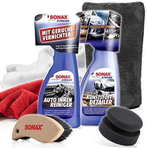 detailmate Interior/Kunststoffpflege Auto Set: SONAX Xtreme Auto- Innen Reiniger 500ml + KunststoffDetailer Innen + Außen 500 ml + 2X Mikrofasertuch + Lederbürste + Pflegehandschuh + Applikator