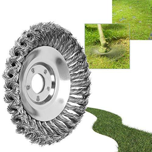 BALLSHOP Twist Wire Wheel Bürste Unkrautbürste Wildkrautbürste Kegelbürste Bodendurchmesser 150 mm Bohrung 25,4 mm Kegelförmig Geknotet Gezopfter Stahldraht für Freischneider Motorsense