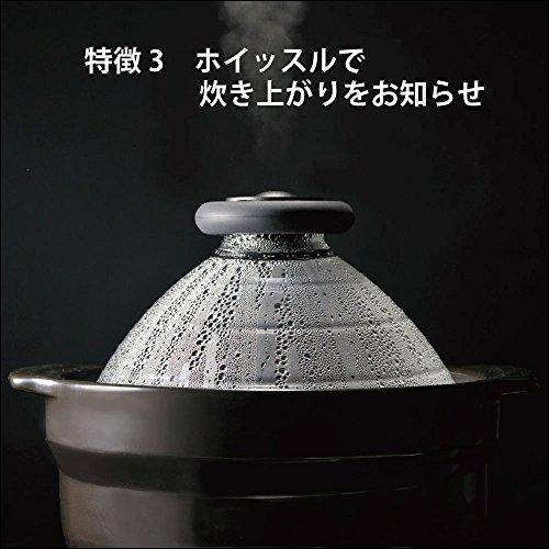『HARIO(ハリオ) フタがガラスご飯釜 ブラック 2-3合 萬古焼 日本製 GNN-200B』の3枚目の画像