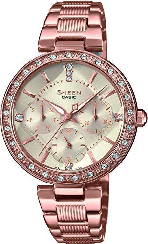 Casio Reloj Analógico para Mujer de Cuarzo con Correa en Acero Inoxidable SHE-3068PG-4AUER