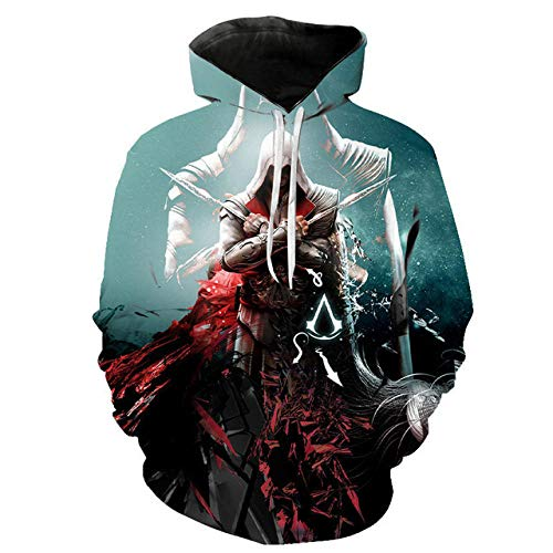 Pullover Sudaderas Jerséis Chaquetas Unisex 3D HD Anime Impreso Capucha Cool Nylon Assassin'S Creed Cosplay Camisetas De Larga Manga Larga Camisas Top Transpirable Suéter-A_S