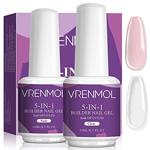 Vrenmol 5 in 1 Builder Nail Gel Set - 15ml Nagelverlängerungs-Gel-Set mit klarem Nude Nail Strengthener Hartes Gel für Verlängerungsreparatur Dünne Nägel French Nail Art Maniküre