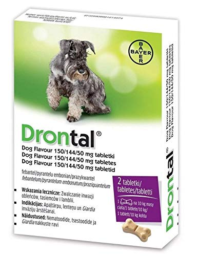 Bayer Drontal Worming Tablet for Dogs, Pack of 2 tablets