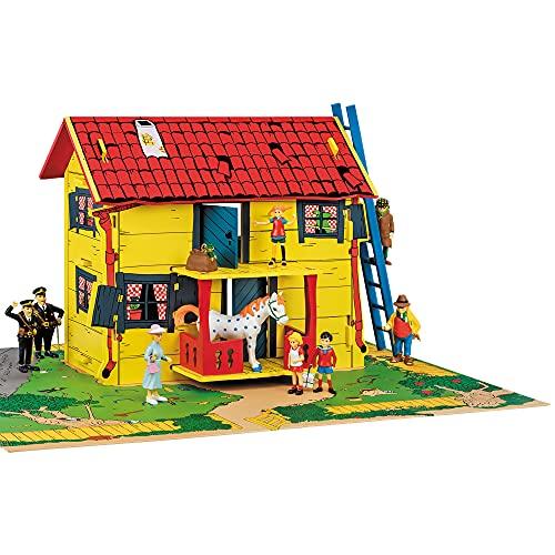Pippi Langstrumpf Micki & Friends DIY Puppenhaus Bausatz aus Holz – 2-stöckiges Miniatur Haus – Spielzeug für Mädchen und Jungen ab 4 Jahre – schöner & hochwertiger Dollhouse Bausatz