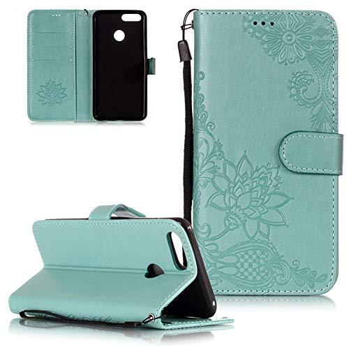 FNBK Handyhülle Leder compatibel mit Huawei Honor 7X Hülle Flip - Blumen Brieftasche Handytasche Stoßfest Wallet Case Tasche Slim Lederhülle Telefon Cover Schutzhülle, Grün