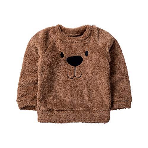 Carolilly - Jersey de terciopelo para bebé, cálido, de invierno, con estampado de oso marrón 110 cm