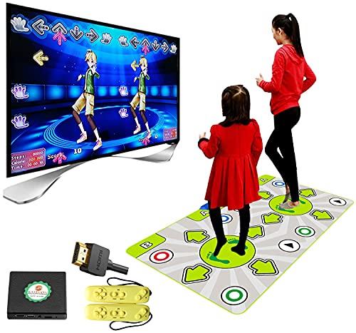 KAXIMON Doppel Tanzmatte für Mädchen, Wireless Dance Pad mit Englisch Handbuch und HDMI Ausgang, Eingebaute 128 Tanzmatte Musikspiele für Erwachsene und Kleinkinder, 720P HD Auflösung