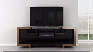 """75"""" Contemporary TV Stand Media Console for Flat Screen and Audio Video Installations; High Gloss Black Lacquer Case and Oak End Caps. Model"""