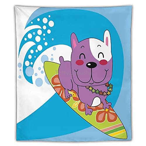 Tapestry French Bulldog Surfing And Smiling Happy Adventure Exotic Dog Cartoon Tapestry Wall Hanging Art Print Mural for Bedroom Living Room Dorm Home Décor, Housewarming Gifts, 50'×60'