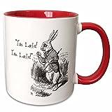 3dRose Alice in Wonderland Rabbit I'm Late-John Tenniel Illustration Mug, 11 oz, White/Red