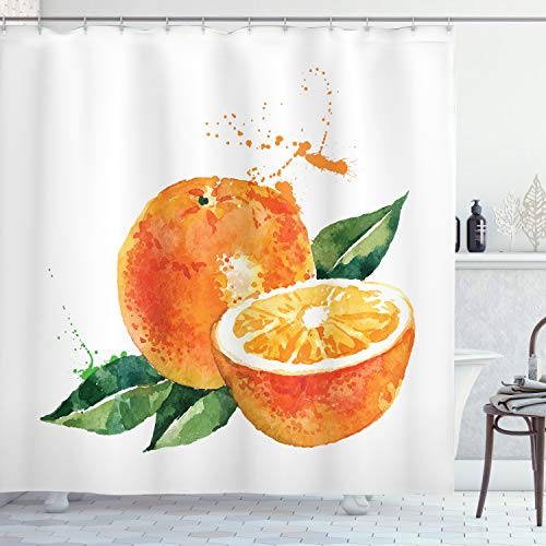 ABAKUHAUS Fruta Cortina de Baño, Arte de la Acuarela de Orange, Material Resistente al Agua Durable Estampa Digital, 175 x 200 cm, Marigold Verde del Helecho