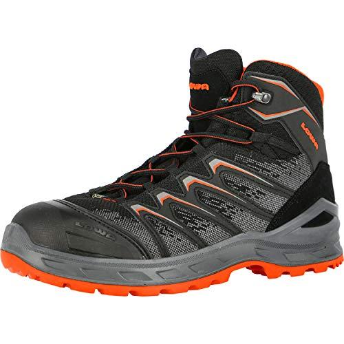Lowa Sicherheitsschuhe LARROX Work GTX Black Mid S3, Farbe:schwarz/orange, Schuhgröße:44 (UK 9.5)