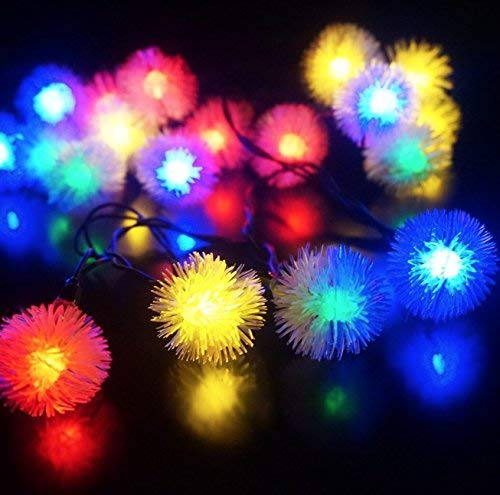 Tugend-Ära Beste Qualität Pom Pom Lichterkette Led dekoratives Licht (2,25m, 20 Pompon, weiß) ITG # 132