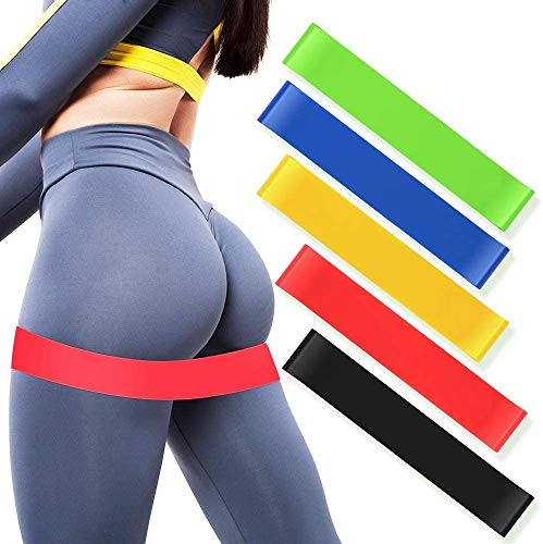 Exercise Resistance Loop Bands Set 5 Levels, Natural Latex Stretch Bands for Legs Butt Arms, Suitable for Home Gyms, Fitness Workout, Strength Training, Pilates, Yoga, Physical Therapy