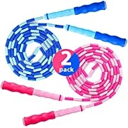 I IBIFIC Jump Rope Soft Beaded Segment Adjustable Tangle for Men, Women and Kids Girls and Boys Workout Fitness Exercises Training Skipping Gymnastics Weight Loss 2 Pack Blue and Pink 9 Feet