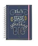 MIQUELRIUS - Agenda Anual 2021 Happy Letters - Castellano, Día Página, Tamaño 155 x 213 mm (~A5), Papel 90g, Cubierta Rígida Cartón Forrado, Color Azul, Something Big