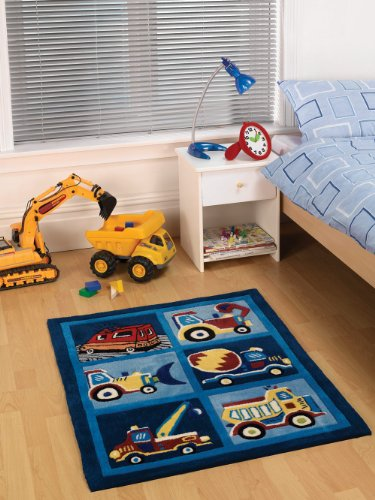 Lord of Rugs Bambini morbido tappeto in colore blu navy Trucks design tappeto 80 x 100 cm (2 '17,8 cm x 3' 7,6 cm)
