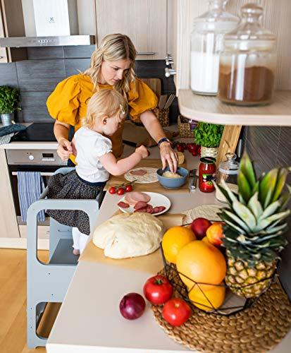 Sweet Home From Wood Taburete de cocina auxiliar de cocina taburete de seguridad para niño taburete de paso Kid Step Taburete de Actividad torre Montessori taburete de paso (gris)