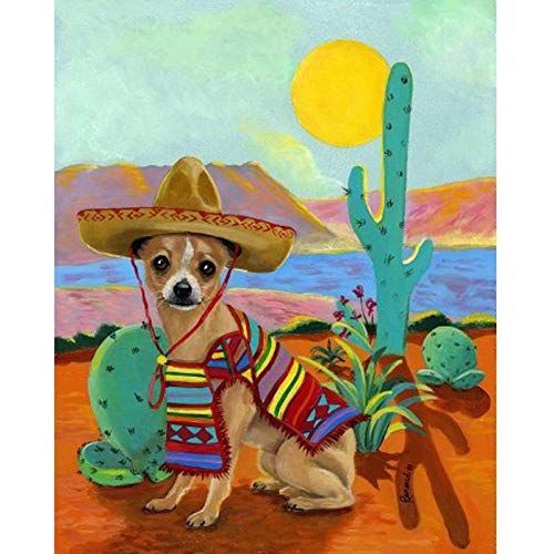 Diopn 5D Diamant Schilderij Cactus DIY Chihuahua in Sombrero Cross Stitch Kit Diamant Borduren Mozaïek Patroon Dier Landschap(Rond Diamant 30 * 40) 30 * 40