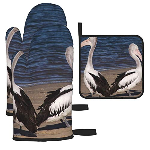 Pelicans Sea Beach Birds Pair Oven Mitts and Pot Holder Kitchen Microwave Gloves Household Essentials Heat Resistant for Baking Cooking 3 Pcs Sets