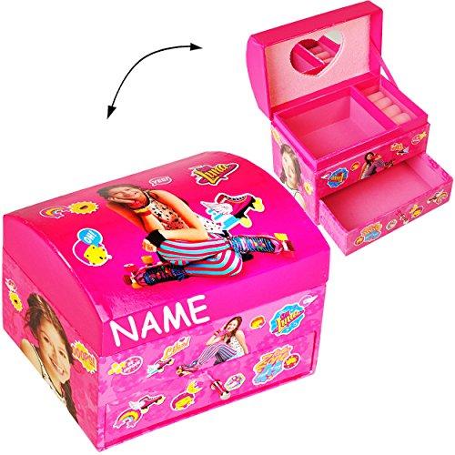 alles-meine.de GmbH Schmuckkasten - mit Schubladen + Spiegel -  Disney - Soy Luna  - incl. Name - Mädchen - z.B. für Schmuck - Schmuckbox Schmuckkästchen / Schmuckdose - Box / ..