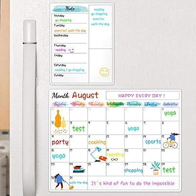 "Dry Erase Fridge Magnetic Calendar - White Board Magnetic Calendar for Refrigerator Wall Home Kitchen Decor, 15""x 11.5"", Grocery List Magnet Pad for Fridge"