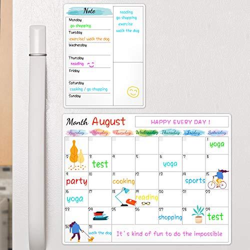 "Dry Erase Fridge Magnetic Calendar - White Board Magnetic Calendar for Refrigerator Wall Home Kitchen Decor, 15""x 11.5"", Grocery List Magnet Pad"